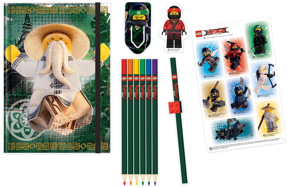 LEGO NINJAGO Набор канцелярских принадлежностей 12 предметов 5189051890Набор канцелярских принадлежностей включает в себя блокнот, закладку для книг с лентикулярным изображением в формате 3D, ластик, лист с наклейками, простой карандаш, насадку в форме кирпичика на карандаш, 6 цветных карандашей.