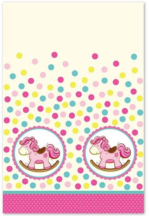 Пати Бум Скатерть Лошадка Малыш цвет розовый 140 х 180 см6046637Скатерть полиэтиленовая, размером 140х180 см. Данная скатерть входит в состав коллекции праздничной одноразовой посуды Лошадка Малышка розовая и лучше всего использовать ее для сервировки праздничного стола вместе с другими элементами из этой коллекции (тарелочки, стаканчики и карнавальные аксессуары коллекции Лошадка Малышка розовая).