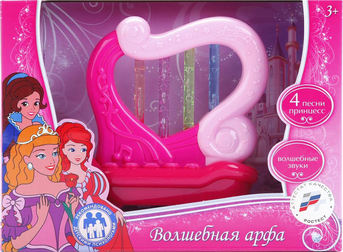 Умка Музыкальная игрушка АрфаB1332666-RКаждая принцесса мечтает о необычном волшебном инструменте как в сказках. Именно таким инструментом является музыкальная арфа. Струны арфы светятся яркими цветами, а при касании к ним издают разные звуки. Также на игрушке есть 5 кнопок, при нажатии на которые играют песни. Всего в арфе 4 песни и звуки. Такая игрушка надолго увлечет вашу девочку и не даст ей заскучать. Рекомендуется докупить 3 батарейки типа LR41 (товар комплектуется демонстрационными).