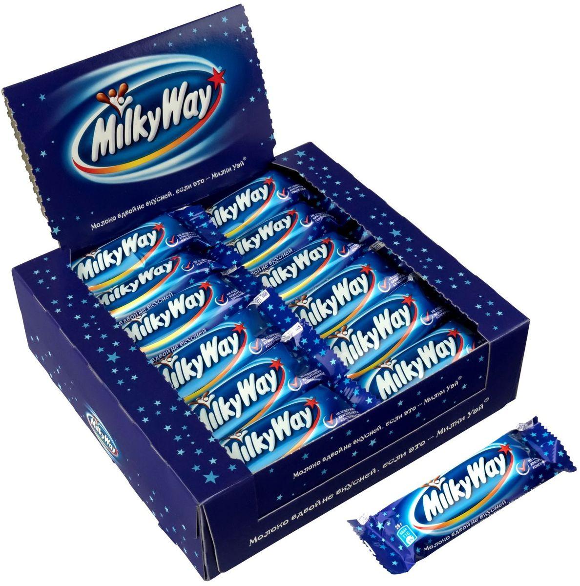 Milky way шоколадный батончик, 36 шт по 26 г подарочный набор milky way кормушка 155 г