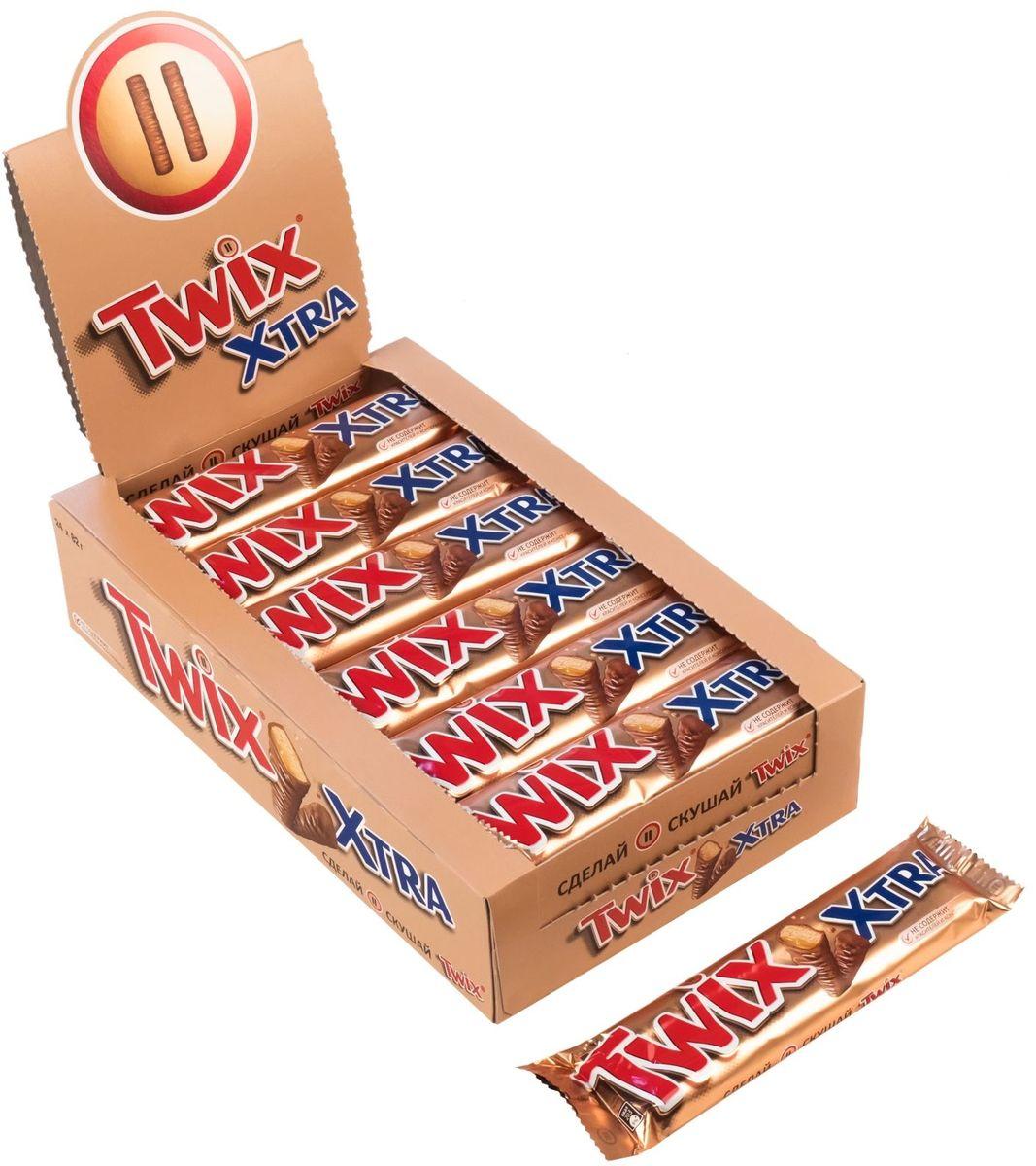 Twix Xtra шоколадный батончик, 24 шт по 82 г twix xtra шоколадный батончик 82 г