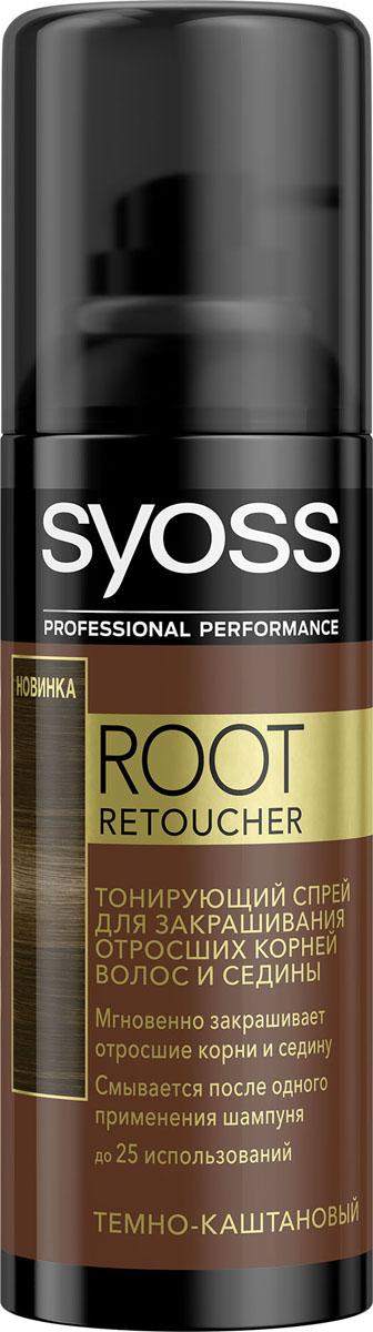 Syoss Root Retoucher Тонирующий спрей для закрашивания отросших корней и седины оттенок Темно-каштановый