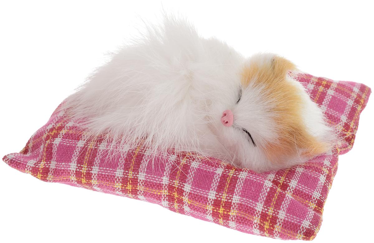 Фото - Vebtoy Фигурка Лежащий котенок на коврике цвет белый С408 vebtoy фигурка спящий котенок на коврике со звуком мяу цвет черно белый