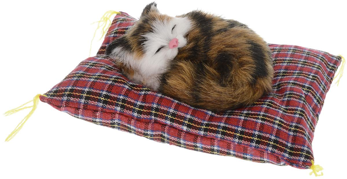 Фото - Vebtoy Фигурка Лежащий котенок на коврике цвет коричневый CM381 vebtoy фигурка спящий котенок на коврике со звуком мяу цвет черно белый