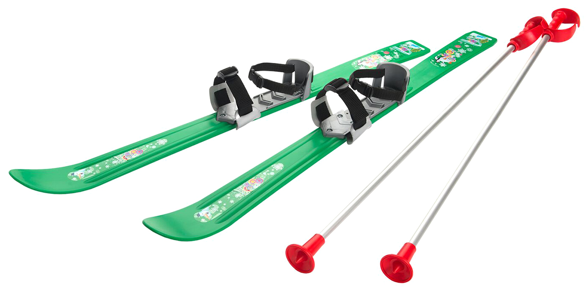 """Лыжи детские Gismo Riders """"Baby Ski"""", с палками и креплениями, цвет: зеленый, рост 90 см"""