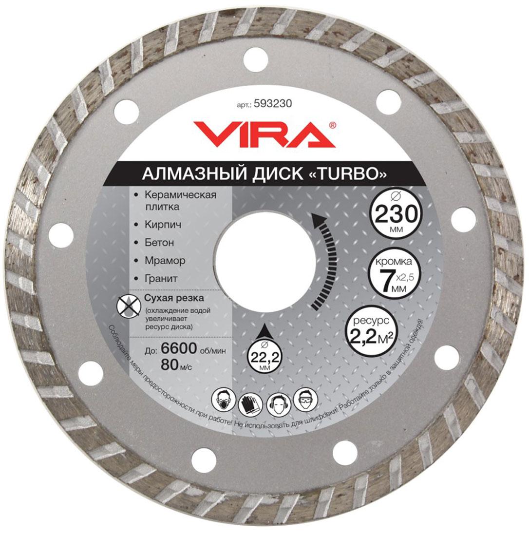 Диск алмазный Vira Турбо, наружный диаметр 230 мм. 593230 диск алмазный vira турбо наружный диаметр 230 мм 593230