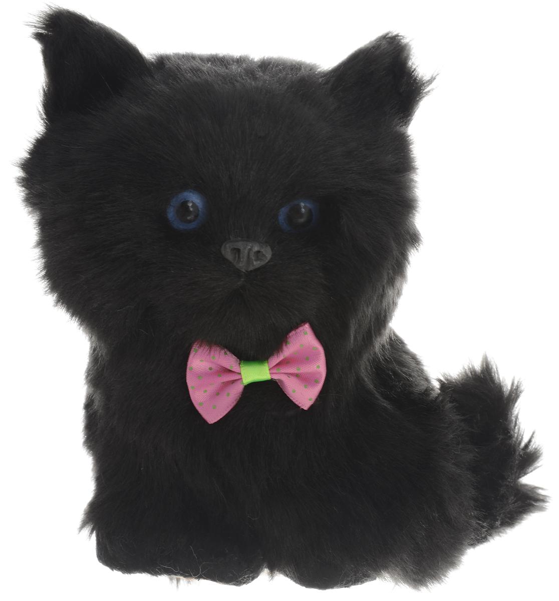 Фото - Vebtoy Фигурка Сидящий котенок цвет черный vebtoy фигурка спящий котенок на коврике со звуком мяу цвет черно белый