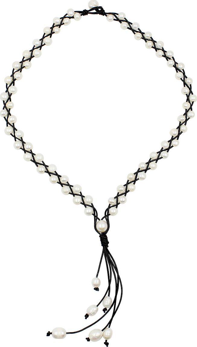 Колье Taya, цвет: черный, перламутровый. T-B-13355-NECK-BK.PEARL