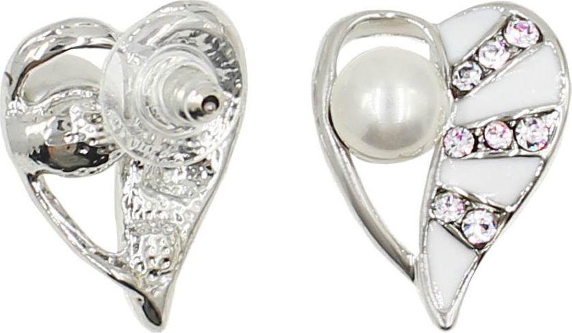 Серьги Taya, цвет: серебристый, белый. T-B-13442-EARR-SL.WHITE белозерская алёна сердце из двух половинок