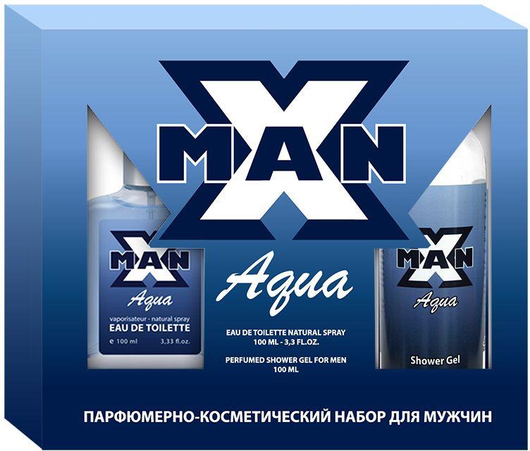 Apple Parfums Набор подарочный мужской X Man Aqua: туалетная вода 100 мл, гель для душа 100 мл цены онлайн