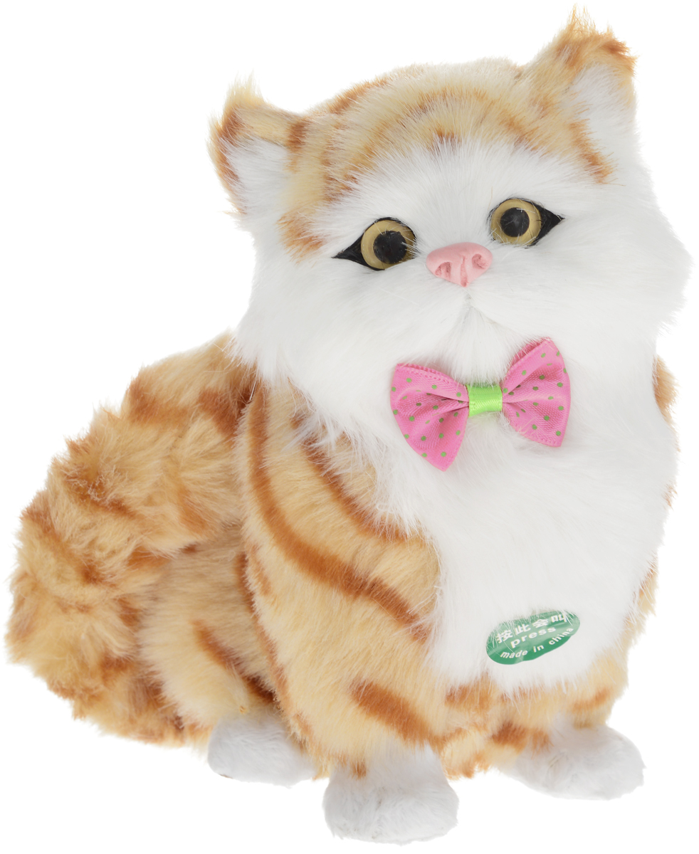 Vebtoy Фигурка Сидячий котенок цвет оранжевыйC351Очаровательная фигурка Vebtoy Сидячий котенок изготовлена из пластмассы и обшита мягким мехом. Глазки и носик котенка выполнены из пластика. Фигурка милого рыженького котенка украшена декоративным бантиком. Нажмите на грудку фигурки, и она начнет мяукать. Такая фигурка станет превосходной игрушкой для детей, а также замечательным украшением вашего дома. Играя с такой игрушкой, дети смогут познакомиться с миром животных, не выходя из дома. Мех обработана специальным антиаллергенным раствором, благодаря чему вас не будет беспокоить аллергия. Трогательный котик с нежной мягкой шерсткой станет оригинальным и незабываемым подарком для любого любителя кошек, а также превосходным памятным сувениром к любому торжеству. Игрушка работает от незаменяемых батареек (входят в комплект).