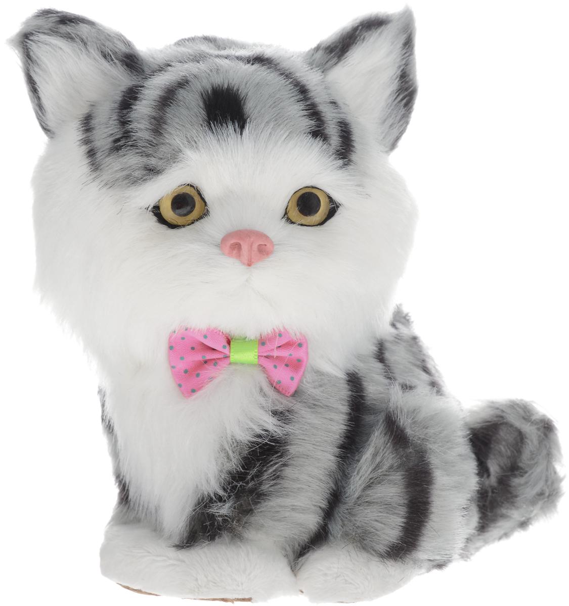 Фото - Vebtoy Фигурка Котенок сидящий цвет серый vebtoy фигурка спящий котенок на коврике со звуком мяу цвет черно белый