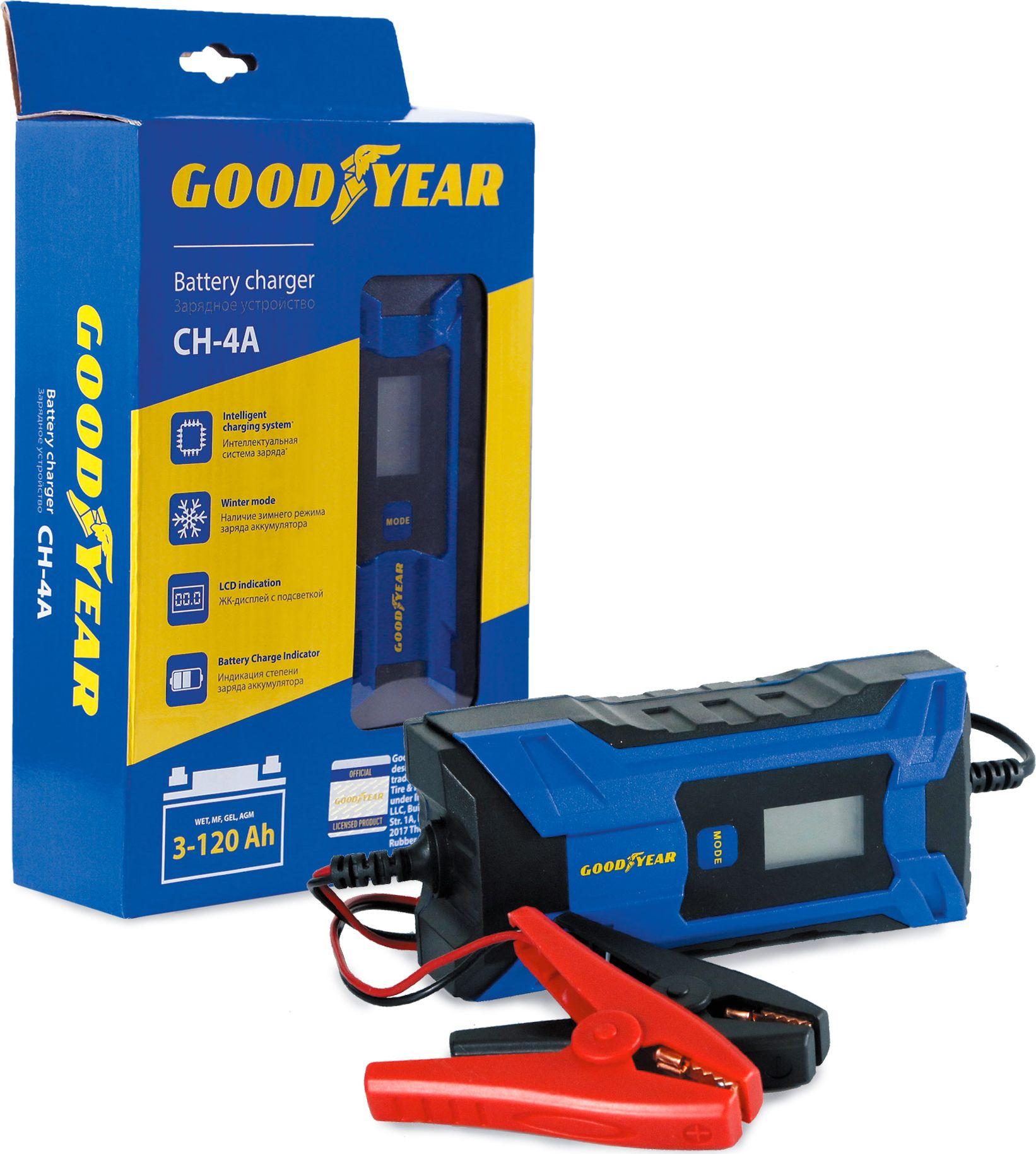 Электронное зарядное устройство Goodyear, для свинцово-кислотных аккумуляторов CH-4A зарядное устройство зубр 6в 12в 4а профессионал 59300