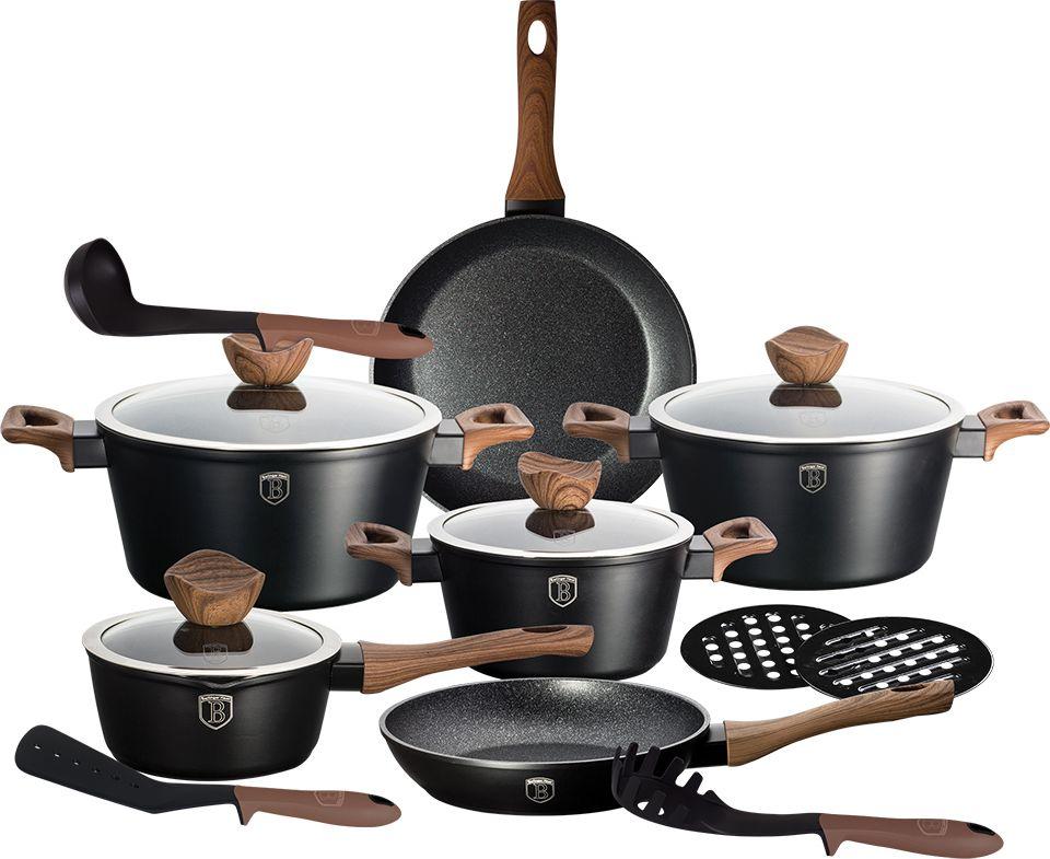 Набор посуды Berlinger Haus Forest Line, цвет: черный, 15 предметов. 1537-BH сковорода с крышкой berlinger haus forest светлое дерево