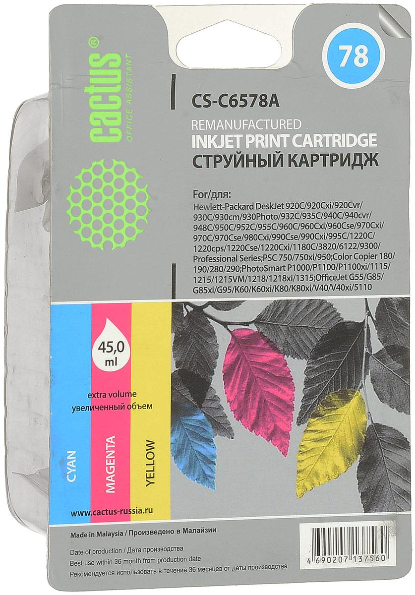 Cactus CS-C6578A №78, Color картридж струйный для HP DJ 916c/920/930/932c/935c/940/950/959/960/970/980c/990 цена