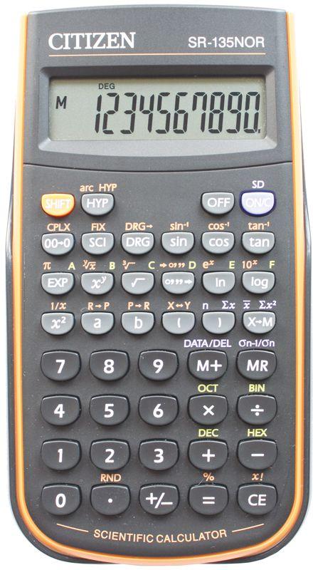 купить Citizen Инженерный калькулятор SR-135N цвет оранжевый по цене 940 рублей