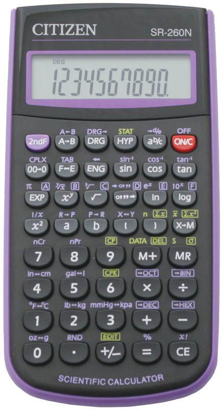 купить Citizen Инженерный калькулятор SR-260N цвет фиолетовый по цене 700 рублей