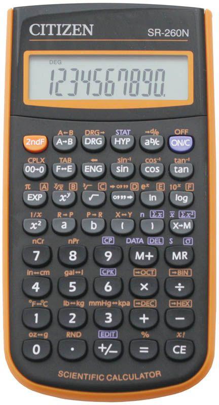 купить Citizen Инженерный калькулятор SR-260N цвет оранжевый по цене 691 рублей