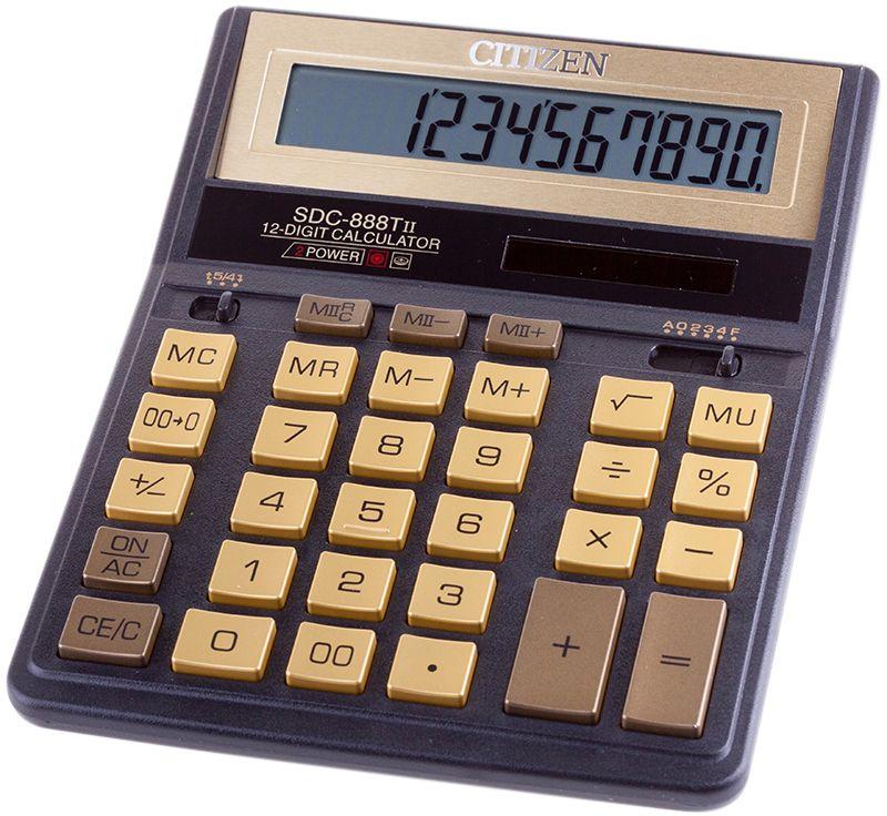 Citizen Настольный калькулятор SDC-888TII цвет черный золотистый цены онлайн