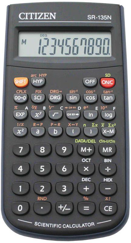 купить Citizen Инженерный калькулятор цвет черный SR-135N по цене 719 рублей