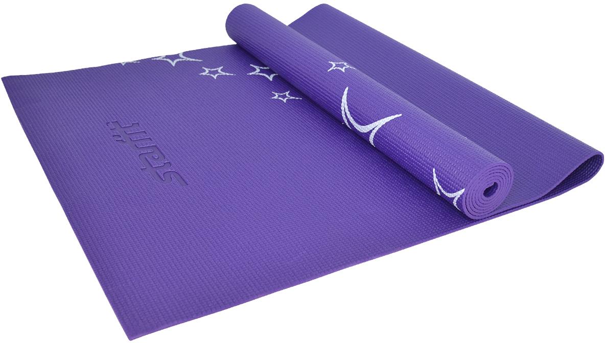 Коврик для йоги Starfit FM-102, цвет: темно-фиолетовый, 173 х 61 х 0,6 см коврик для йоги onerun цвет фиолетовый 183 х 61 х 0 4 см