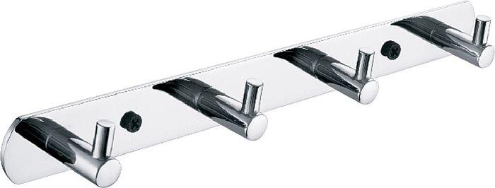 Планка для ванной Fixsen Hotel, 4 крючка, цвет: хром планка 4 крючка fixsen hotel хром fx 31005 4