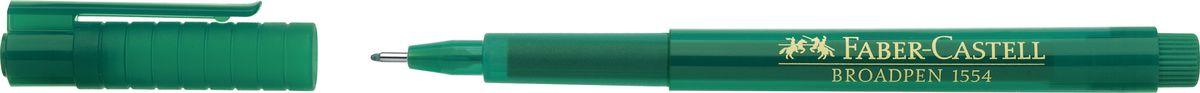 Faber-Castell Ручка капиллярная Broadpen 1554 цвет чернил зеленый faber castell ручка капиллярная finepen 1511 цвет чернил черный