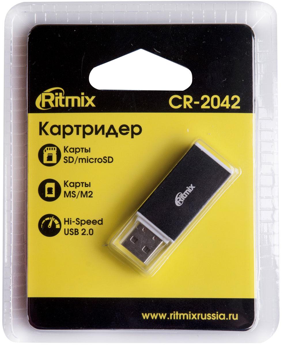 Ritmix CR-2042, Black картридер картридер ritmix cr 3021 black usb 3 0 поддерживает sd microsd карт памяти plug n play питание от usb 5в скорость до 5 гбит с