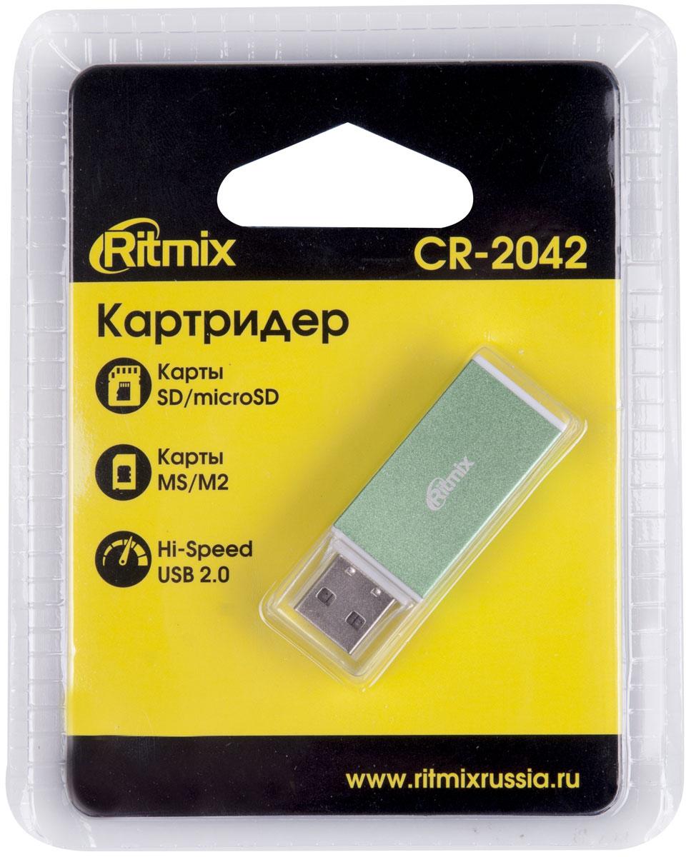 Ritmix CR-2042, Green картридер картридер ritmix cr 3021 black usb 3 0 поддерживает sd microsd карт памяти plug n play питание от usb 5в скорость до 5 гбит с