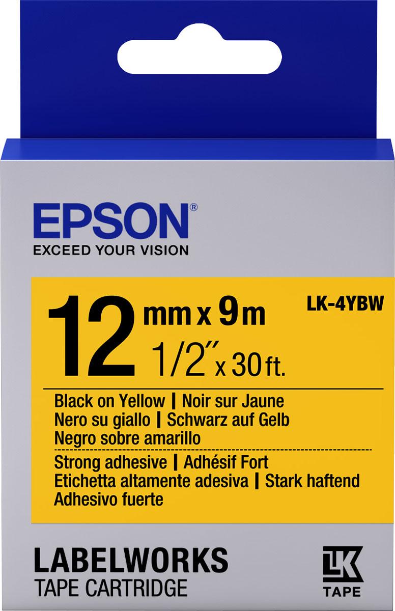 Термотрансферная лента Epson LK4YBW 12/9 (C53S654014), черный на желтом лента epson s015307 черный [c13s015307ba]