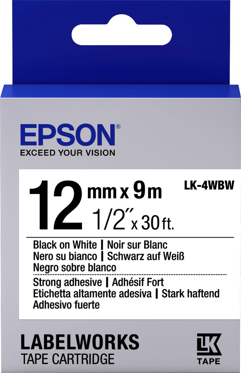 Термотрансферная лента Epson LK4WBW 12/9 (C53S654016), черный на белом лента epson s015307 черный [c13s015307ba]