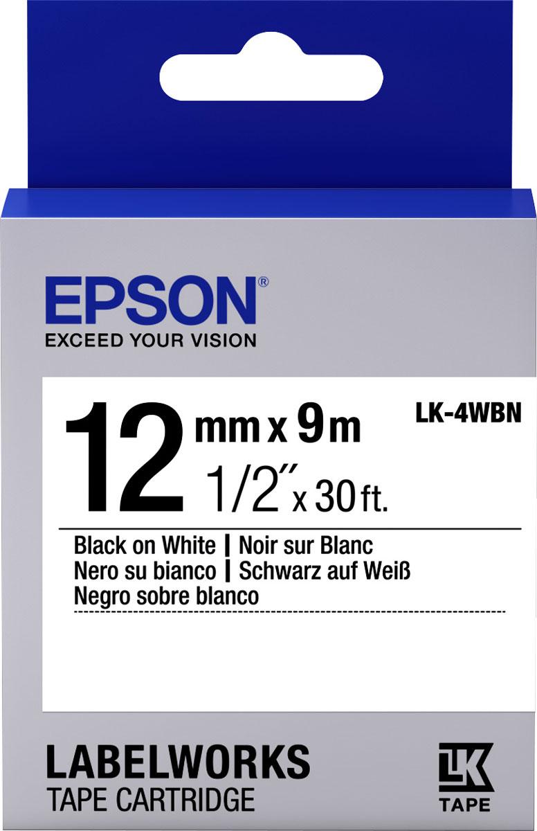 Термотрансферная лента Epson LK4WBN 12/9 (C53S654021), черный на белом лента epson s015307 черный [c13s015307ba]