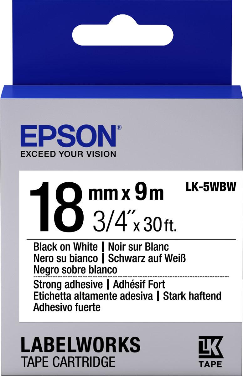 Термотрансферная лента Epson LK5WBW 18/9 (C53S655012), черный на белом