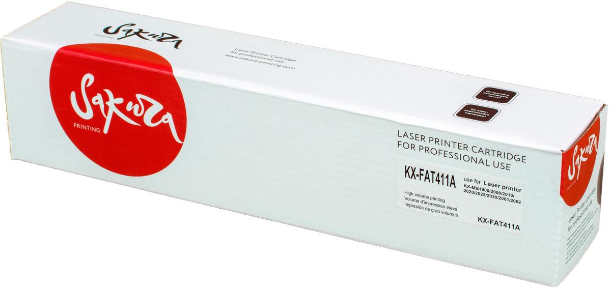 Картридж Sakura KXFAT411А, черный, для лазерного принтера картридж sakura sakxfat411a black для panasonic kx mb1900 kx mb2000 kx mb2020 kx mb2030 kx mb2051 kx mb2061 2000k