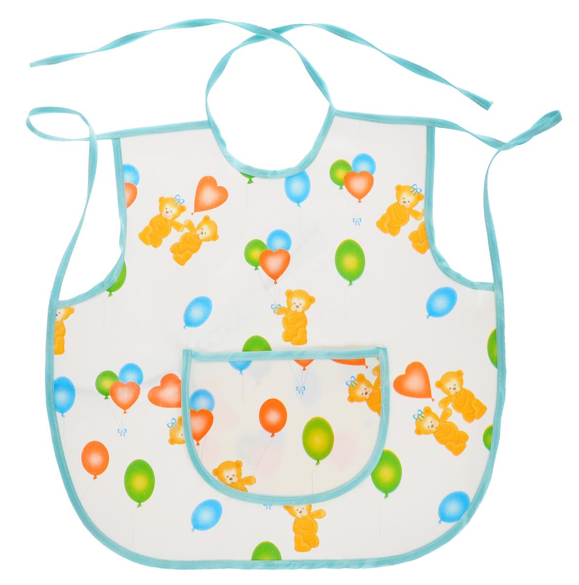 Колорит Фартук защитный Мишки с шариками цвет белый бирюзовый 36 х 36 см колорит клеенка подкладная с окантовкой цвет белый зеленый 50 х 70 см