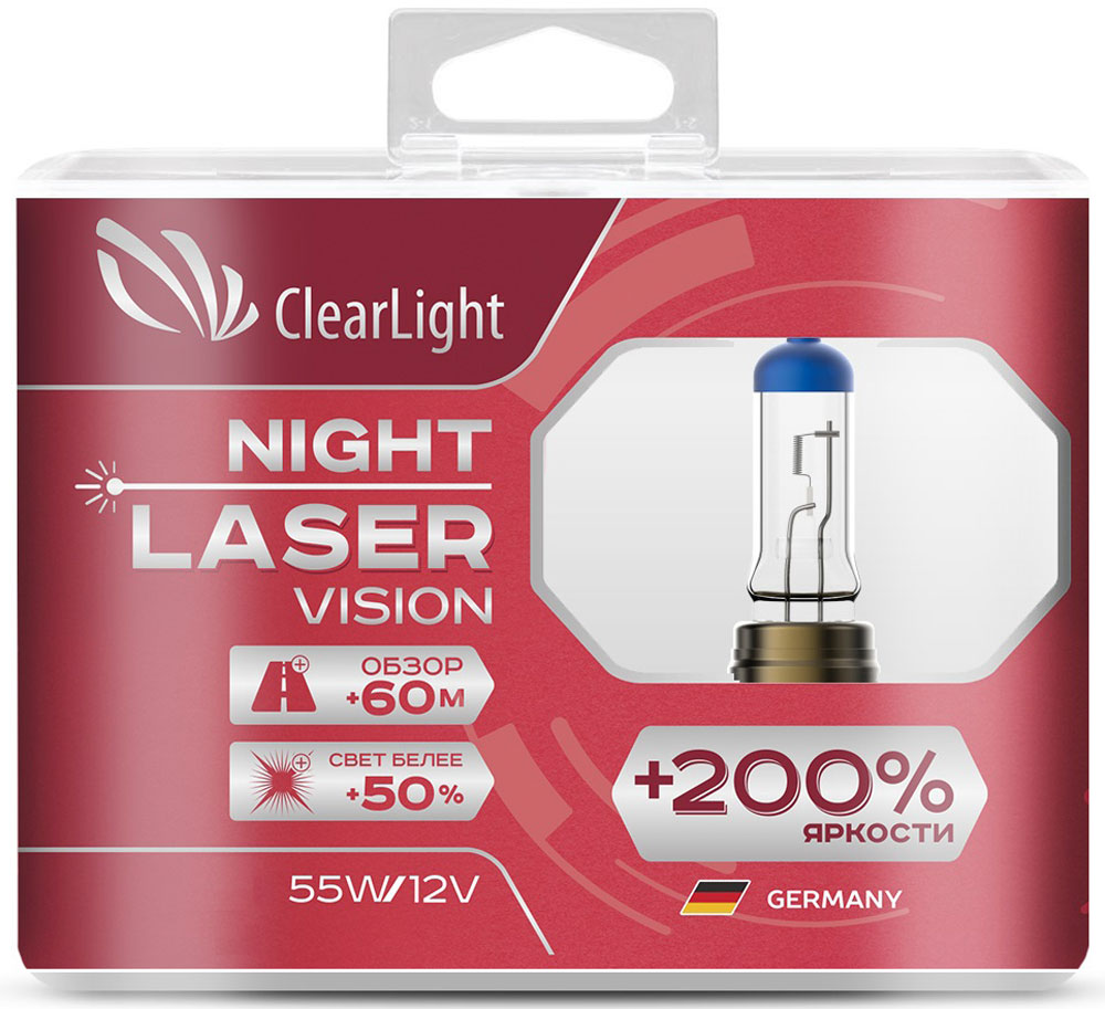 Лампа автомобильная галогенная Clearlight Night Laser Vision +200% Light, цоколь H7, 12V, 55W, 2 шт лампа h8 clearlight 12v 35w night laser vision 200% light 2 шт