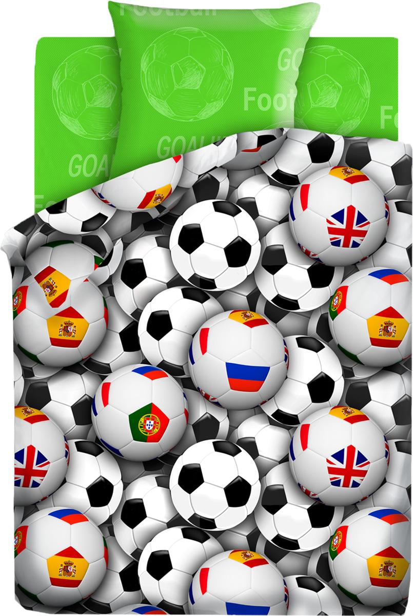 """Комплект белья детский For You """"Футбольные мячи"""", 1,5-спальный, наволочка 70x70, цвет: зеленый"""