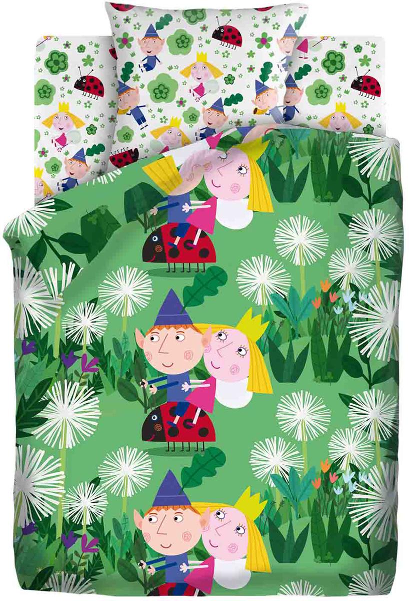 Комплект белья Бен и Холли Бен, Холли и Гастон, 1,5-спальный, наволочки 70x70, цвет: зеленый origami бен и холли мозаика яркое лето холли