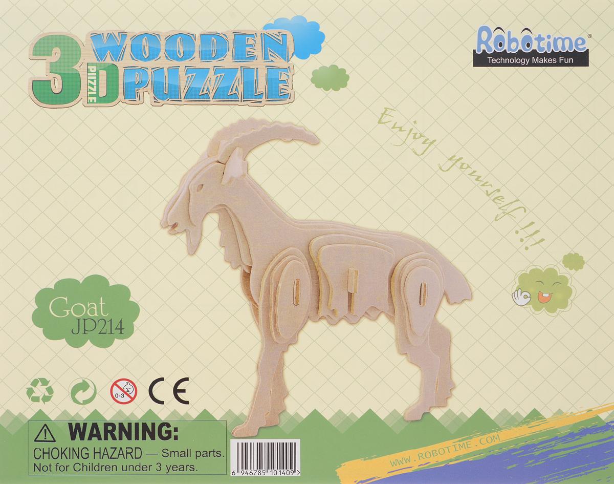 Robotime 3D пазл Коза JP214JP2123D Пазл Robotime Коза - это объемная игрушка из дерева.Благодаря точной подгонке деталей, качественной обработке и подробной инструкции - собирать одно удовольствие.Пазл применим для дальнейших сюжетных игр. Сборка развивает пространственное воображение, память и логику.В конце сборки можно раскрасить игрушку темперными красками. Сделать слой более устойчивым к механическим воздействиям можно, покрыв готовое изделие лаком.