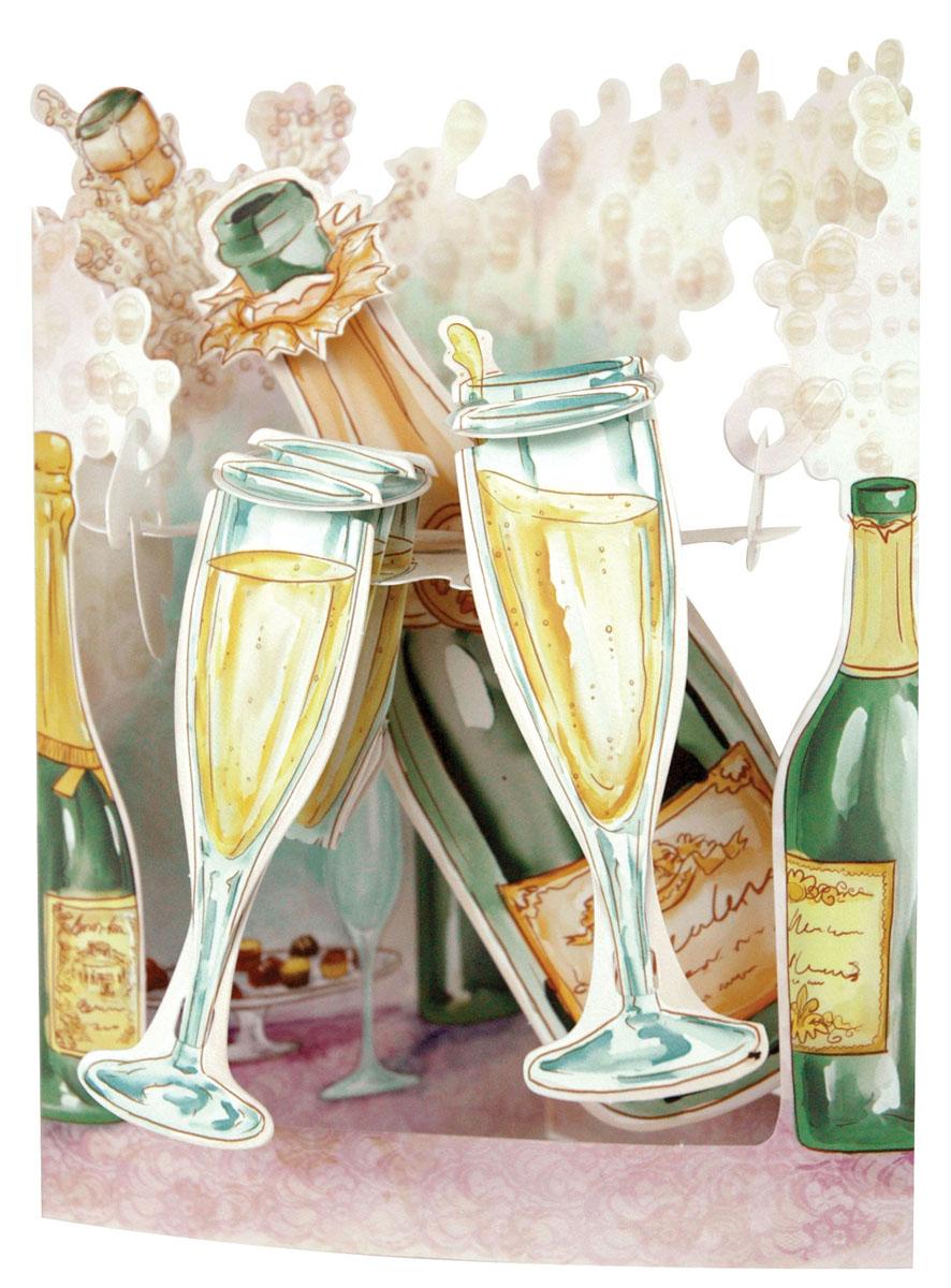 День рождения, открытка шампанское