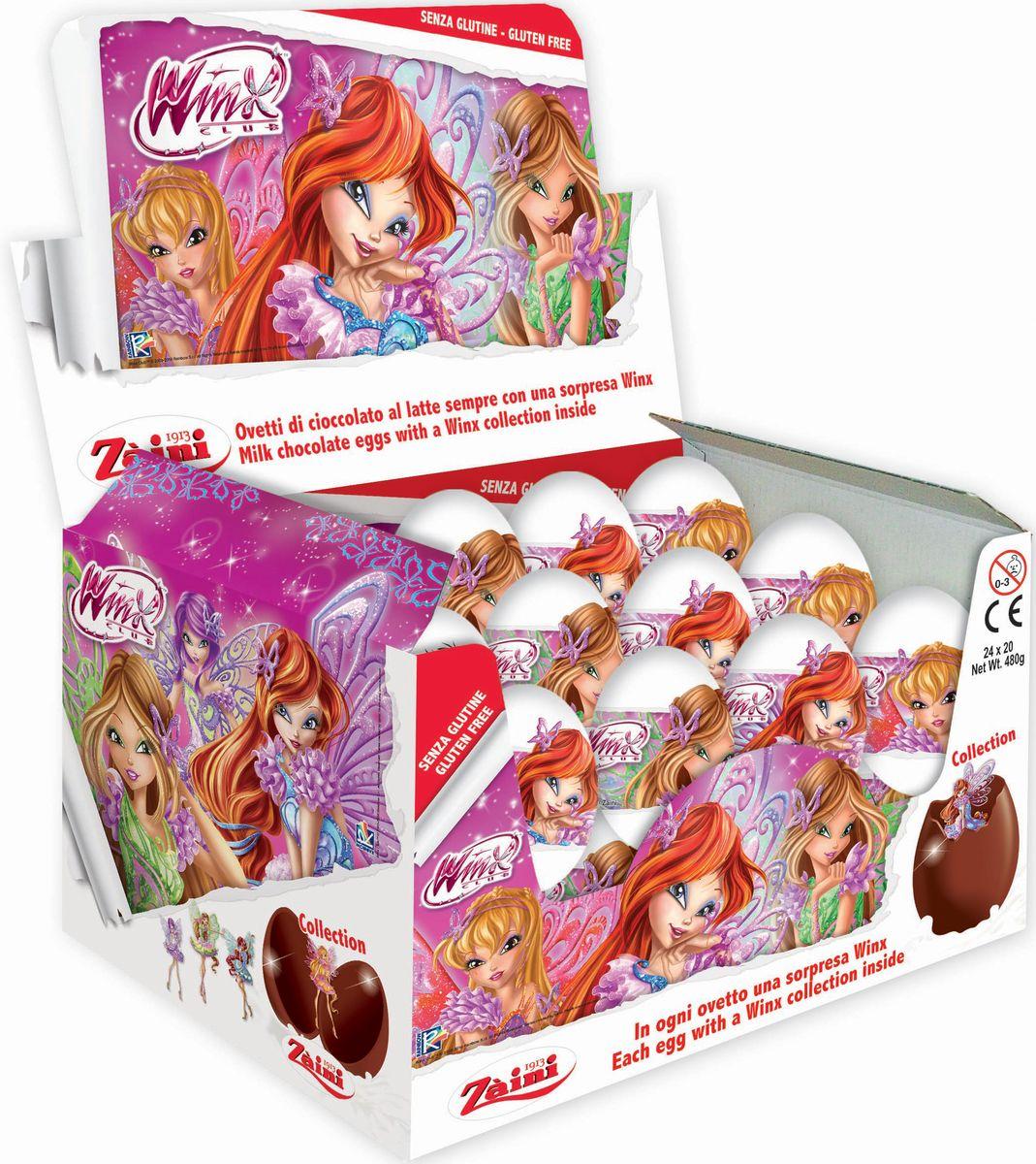 Zaini Winx шоколадные яйца с игрушкой, 24 шт по 20 г zaini choco