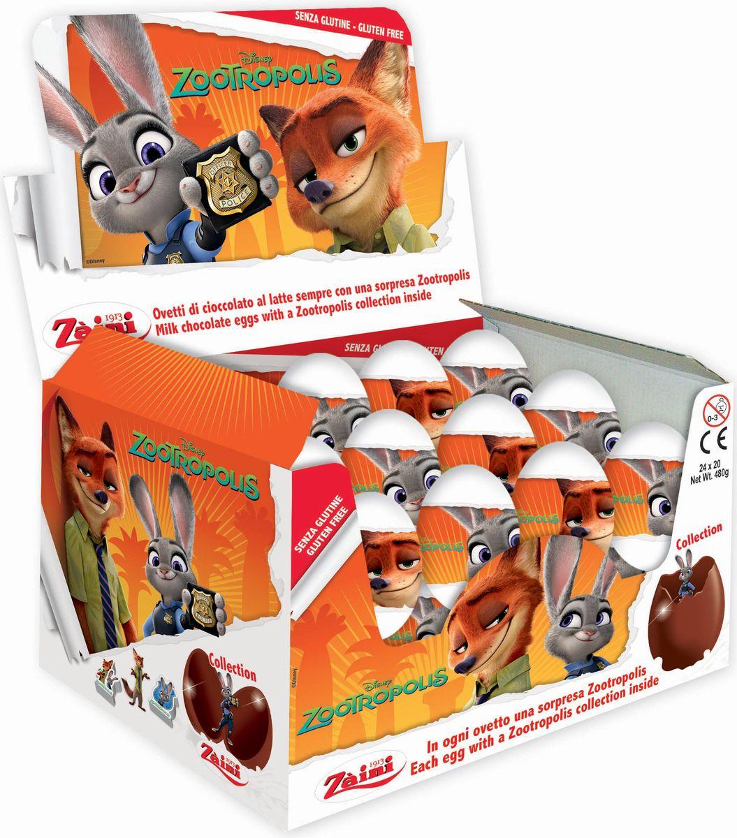 Zaini Zootropolis шоколадные яйца с игрушкой, 24 шт по 20 г zaini choco