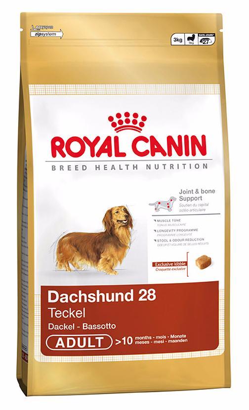 Фото - Корм сухой Royal Canin Dachshund 28, для собак породы такса с 10 месяцев, 1,5 кг сухой корм royal canin dachshund adult для собак породы такса с 10 месяцев 7 5 кг