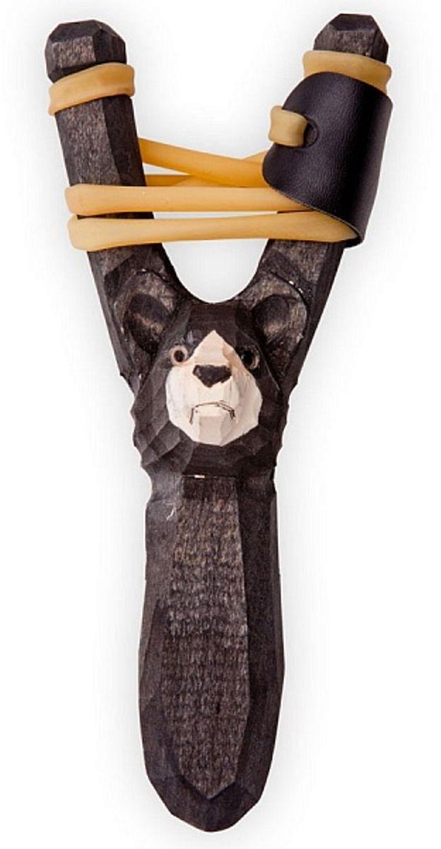 Рогатка офисная Woodsurf Медведь, цвет: черный