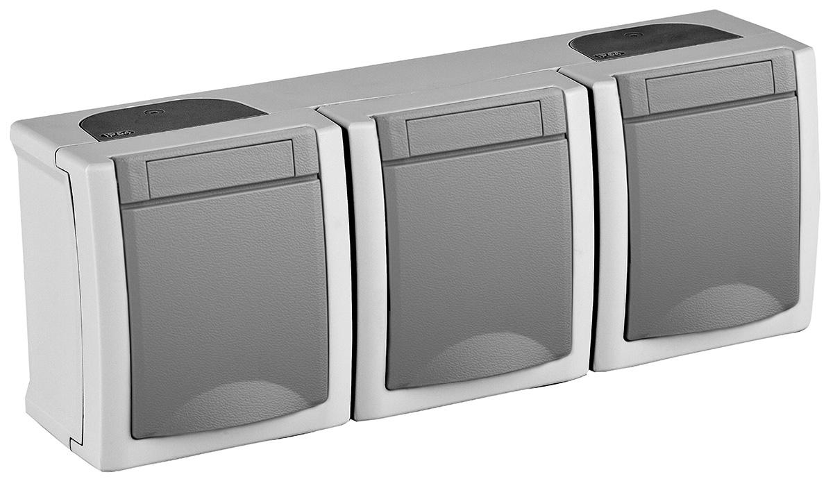 Блок Panasonic Pacific, 3 розетки с заземлением, с крышкой, горизонтальный, цвет: серый, 16 А. 54711 розетка abb bjb basic 55 шато 2 разъема с заземлением моноблок цвет чёрный