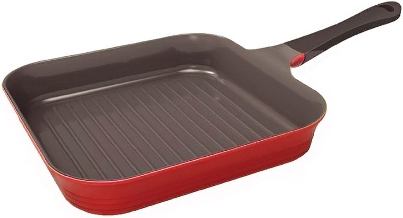 Сковорода-гриль Frybest Bordo, с керамическим антипригарным покрытием, цвет: бордовый. Диаметр 28 см сковорода frybest 24cm bordo f24i