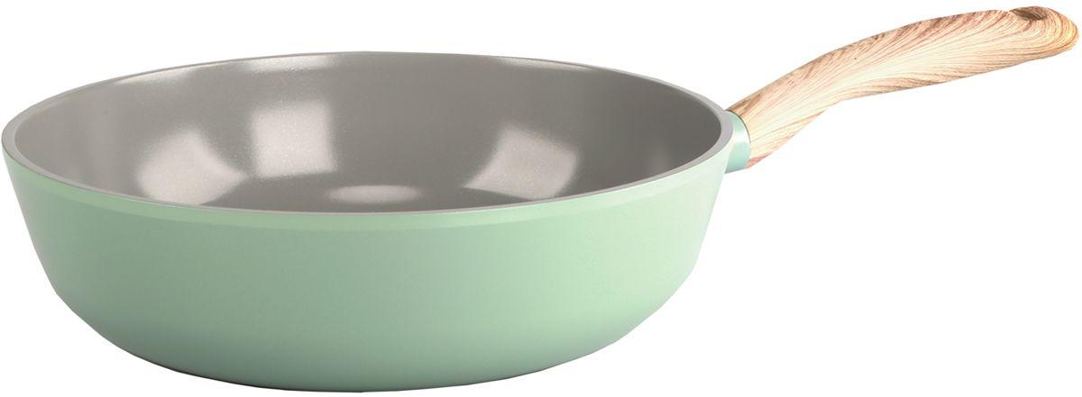 """Сотейник """"Frybest"""", с керамическим антипригарным покрытием, цвет: светло-зеленый, диаметр 26 см"""