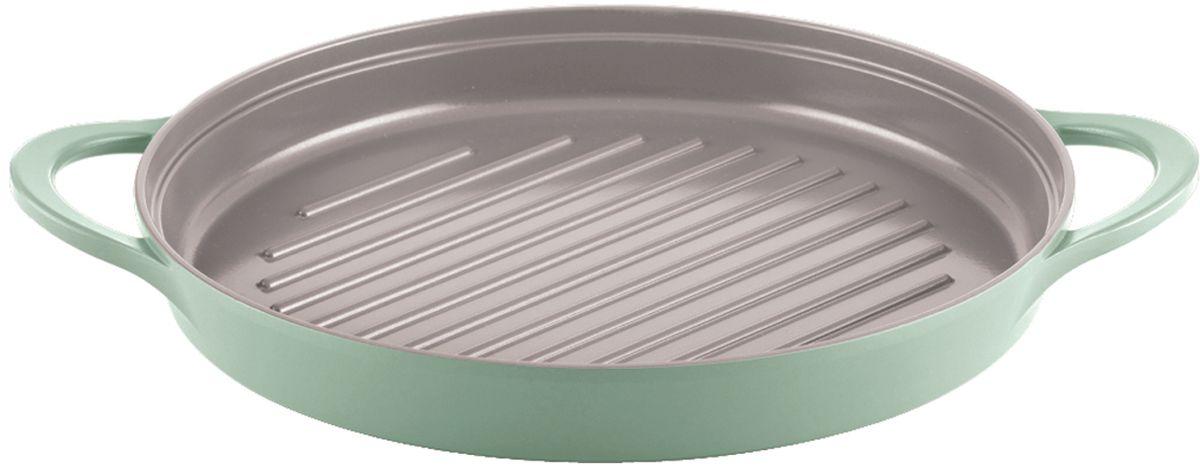 """Сковорода-гриль """"Frybest"""", с керамическим антипригарным покрытием, цвет: светло-зеленый. Диаметр 26 см + ПОДАРОК: прихватки"""