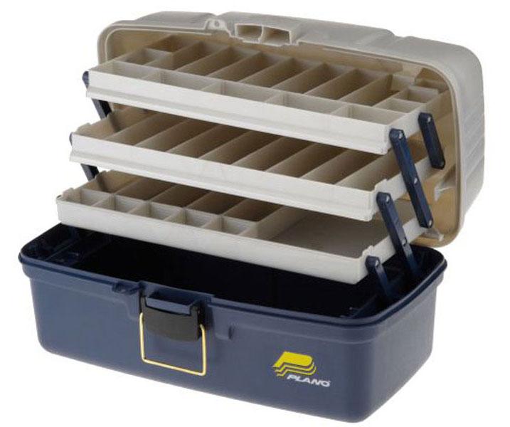Ящик рыболовный Plano, с 4-х уровневой системой хранения приманок, цвет: синий