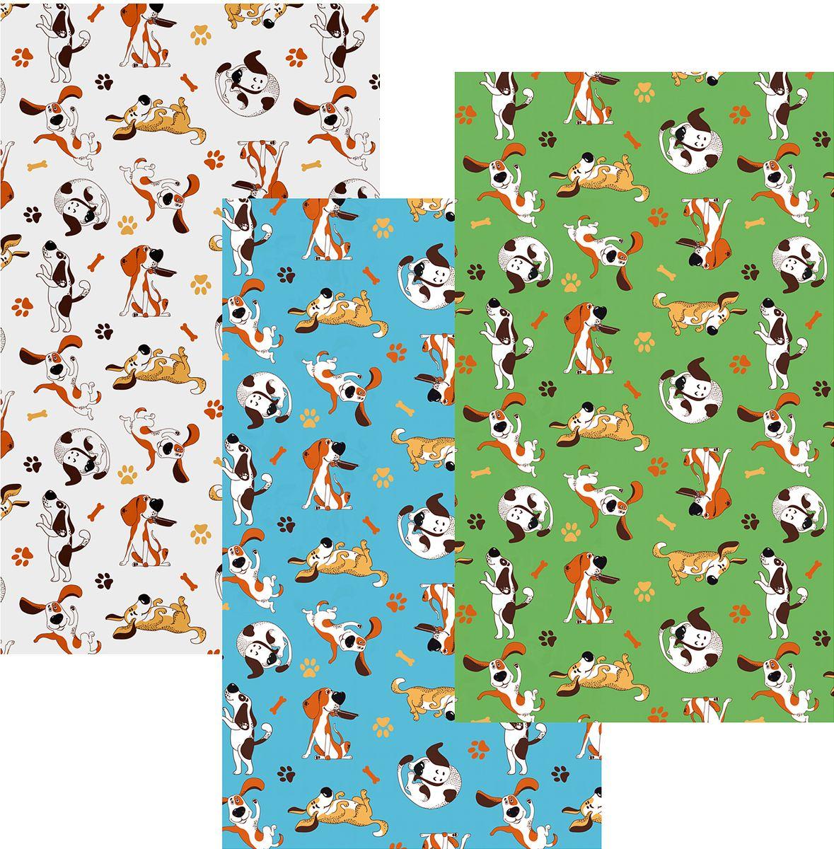 Набор кухонных полотенец Мультидом Веселый щенок, 42  72 см, 3 шт